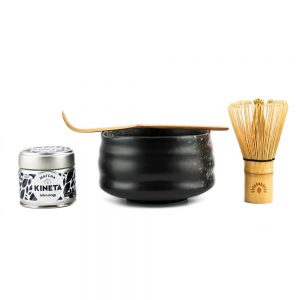 Kineta Finest Matcha Tea Gift Set With Chasen Matcha Whisk, Chashuku Bamboo Spoon, Chawan Bowl, and 30g Tin Of Kineta Finest Matcha tea