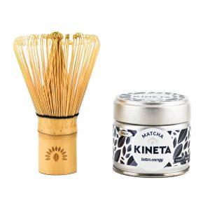 Chasen Matcha Whisk Stood Next To A Tin Of Kineta Matcha Tea
