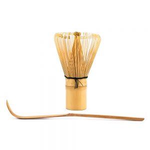 Chasen Matcha Whisk Behind a Chashuku Bamboo Spoon