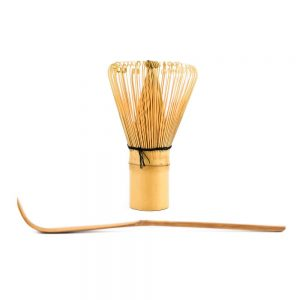 Chashuku Bamboo Spoon In Front Of A Chasen Matcha Whisk
