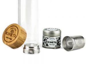 Kineta Cold Brew Matcha Infusion Bottle Taken Apart Next To A 30g Tin Of Kineta Finest Matcha Green Tea Close Up