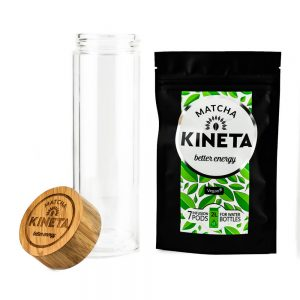 Pack Of 7 Kineta Matcha Green Tea Infusion Pods Next To A Cold Brew Bottle