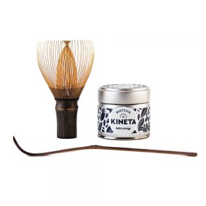 30g Kineta Finest Matcha Tea Tin, Handcrafted Japanese Bamboo Chasen Matcha Whisk Stood On Its Handle And Chashuku Purple Bamboo Matcha Spoon 1000px - 1000px