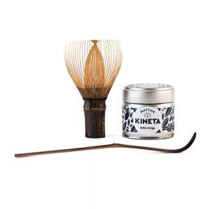 30g Kineta Finest Matcha Tea Tin, Handcrafted Japanese Bamboo Chasen Matcha Whisk Stood On Its Handle And Chashuku Purple Bamboo Matcha Spoon
