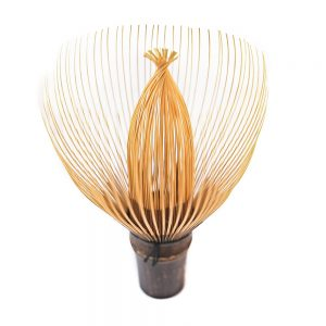 Wide Tine Hand-Crafted Japanese Bamboo Chasen Matcha Whisk Standing On Its Handle