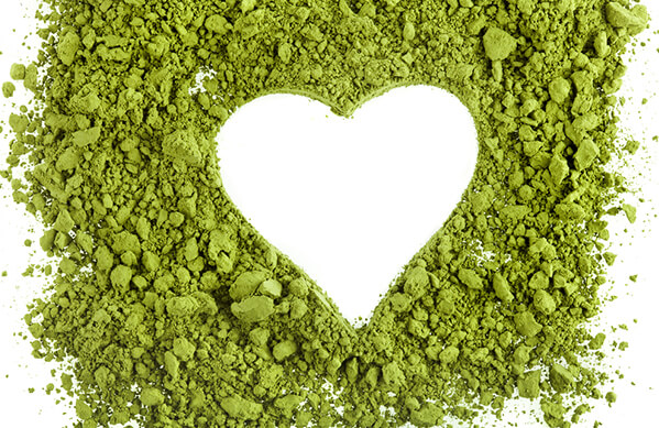 Matcha Tea powder in the shape of a heart