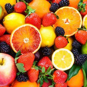 Fruit on a matcha tea powder blog